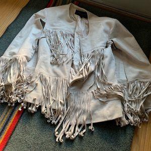 bcbgmaxazria white leather fringe vest